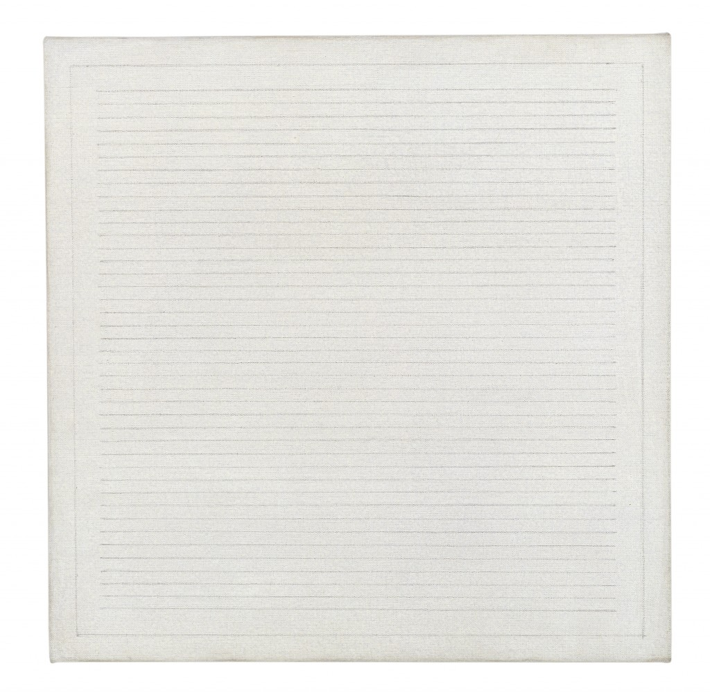 Agnes Martin, The River, 1965 Credit: Louisiana Museum of Modern Art. Donation: The Riklis Collection of McCrory Corporation © Agnes Martin / BUS 2015